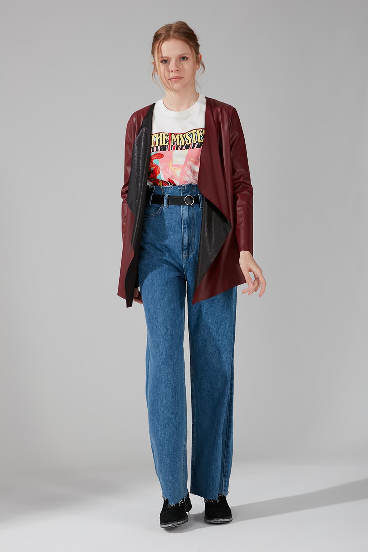 Mizalle - Leather Cardigan Jacket (Claret Red)