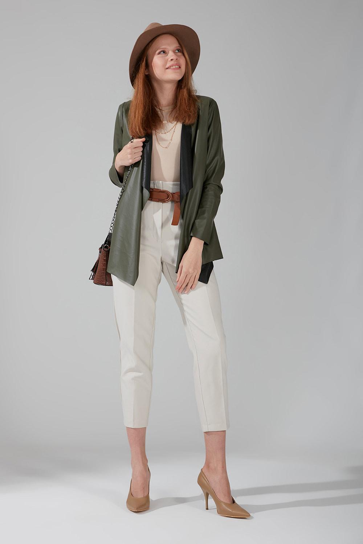 Mizalle - Leather Cardigan Jacket (Khaki)