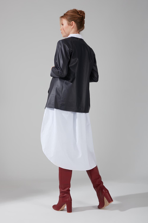Leather Cardigan Jacket (Navy Blue) - Thumbnail