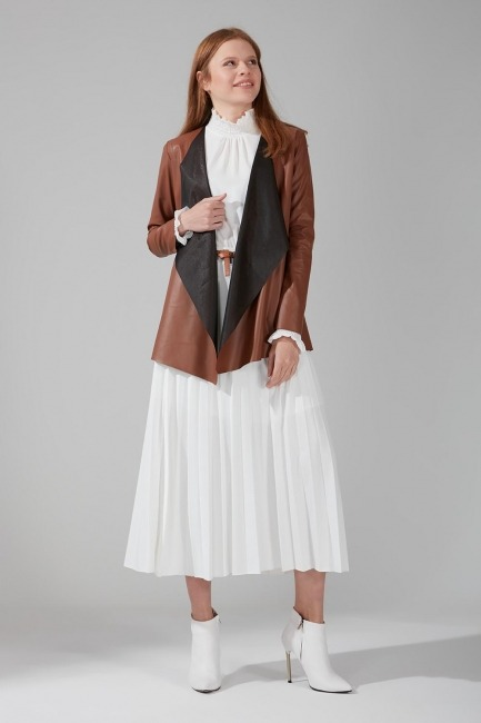 Mizalle - Leather Cardigan Jacket (Tan)