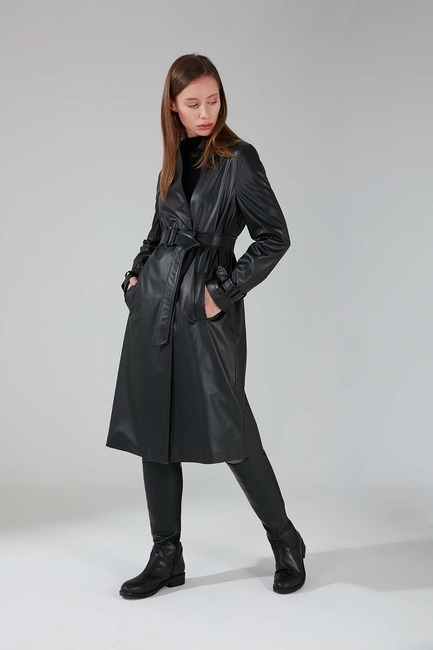 Mizalle - Leather Detailed Classic Trench Coat (Black)