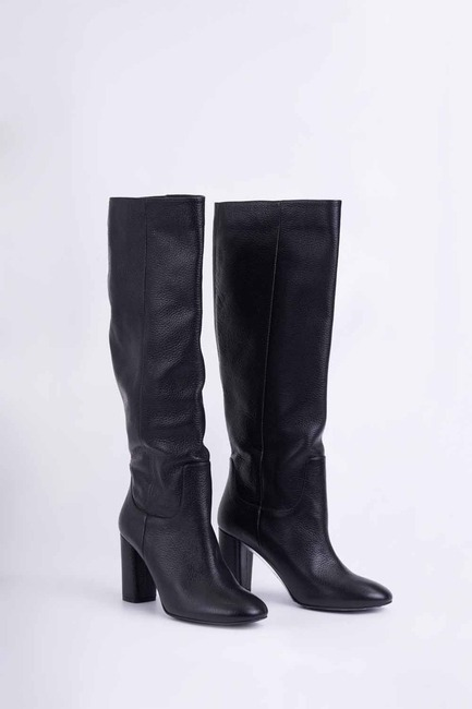 Mizalle - Leather Long Boots (Black)