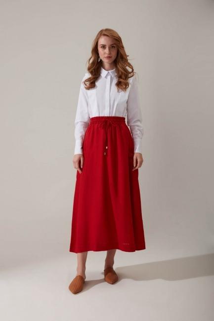 Mizalle - Linen Fabric Pockets Skirt (Red)