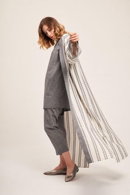 Linen Textured Long Caftan (Grey) - Thumbnail