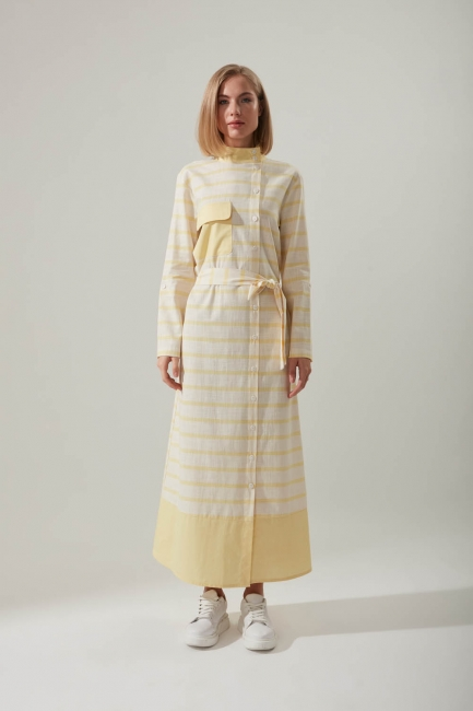 Mizalle - Linen Textured Pocket Yellow Dress