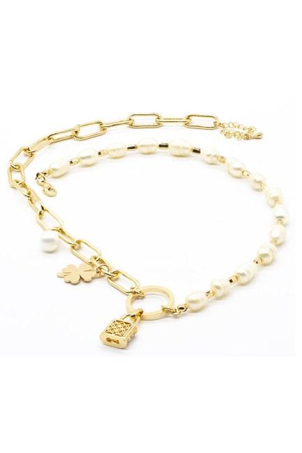 Mizalle - Lock Detailed Necklace (Yellow)