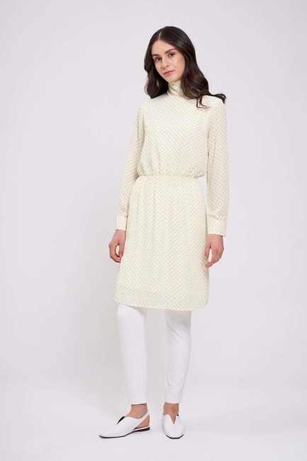 Mizalle - Long Neck Chiffon Tunic (Pistachio Green)