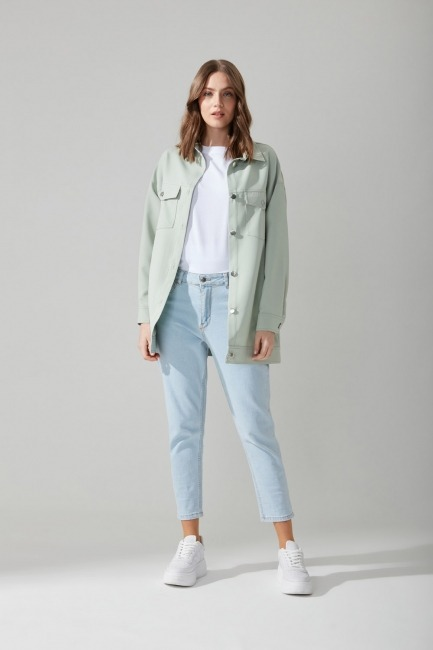 Mizalle - Metal Buttoned Shirt Jacket (Green)