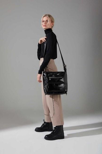 Mizalle - Multi-Pocket Backpack and Shoulder Bag (Black)