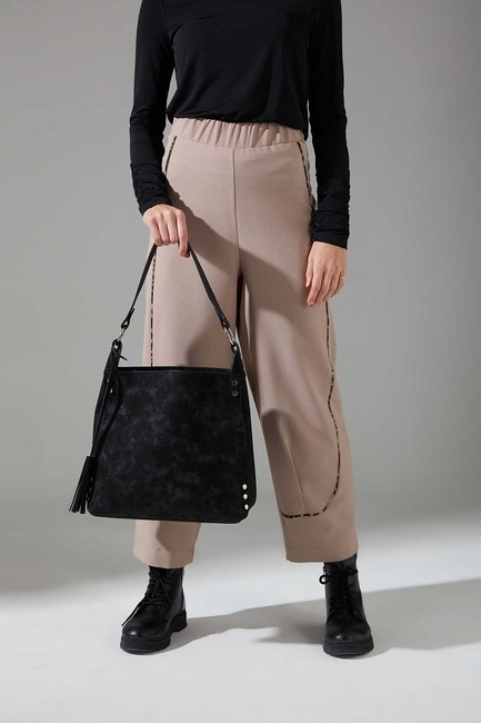 Mizalle - Nubuck Detail Shoulder Bag (Black)
