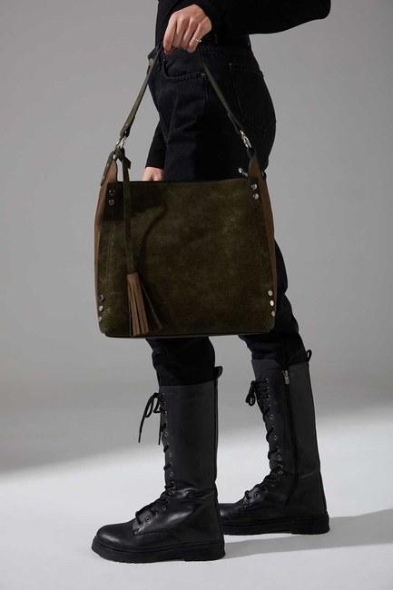 Mizalle - Nubuck Detail Shoulder Bag (Khaki)