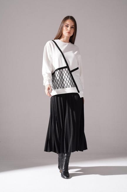Organza Detailed Sweatshirt (Ecru)