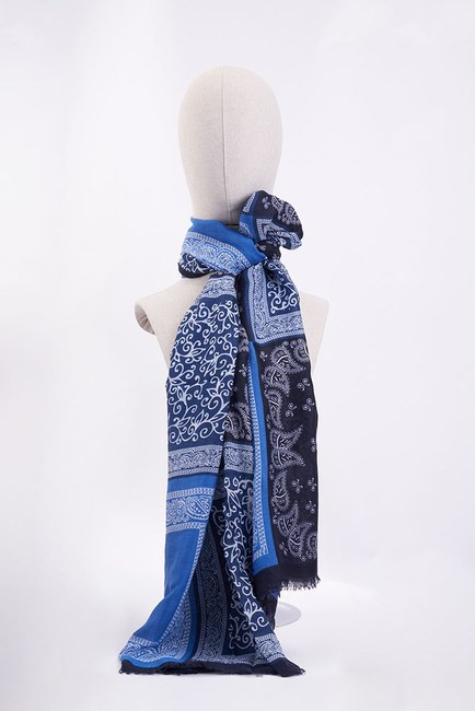 Mizalle - Patchwork Multi Pattern Shawl (Blue)