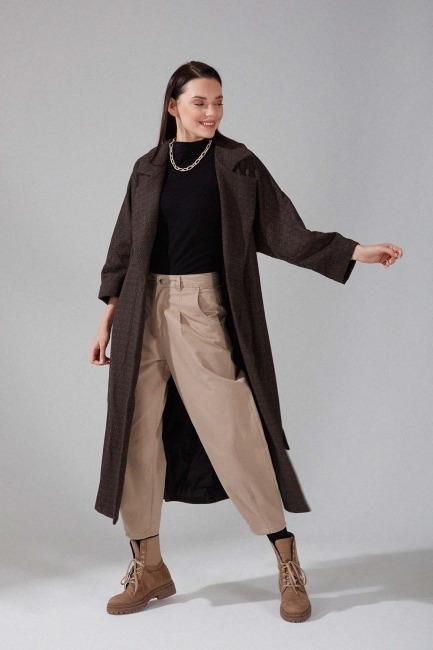 Mizalle - Patterned Cachet Coat (Brown)