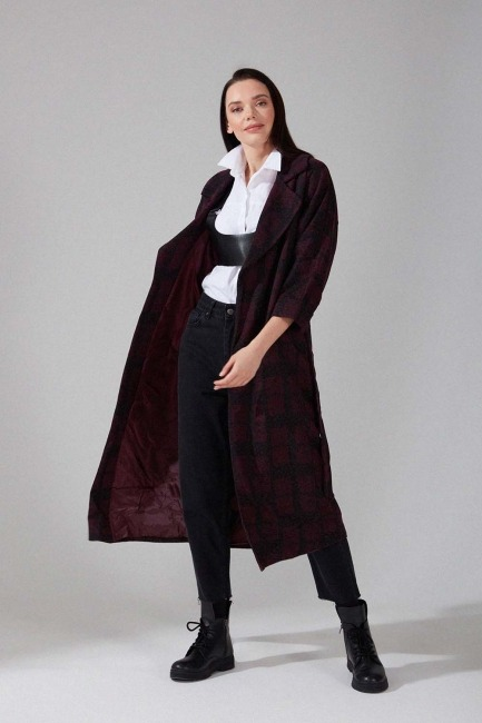 Mizalle - Patterned Cachet Coat (Claret Red)
