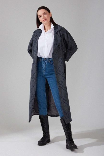 Mizalle - Patterned Cachet Coat (Grey)