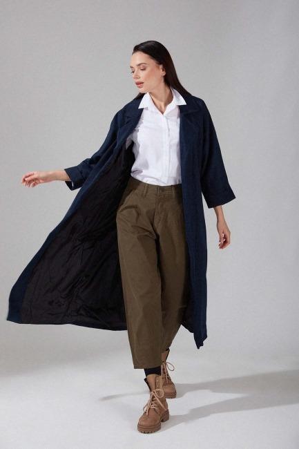 Mizalle - Patterned Cachet Coat (Grey Pattern)