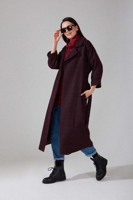 Mizalle - Patterned Cachet Coat (Purple Pattern)