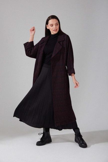 Mizalle - Patterned Cachet Coat (Rose)