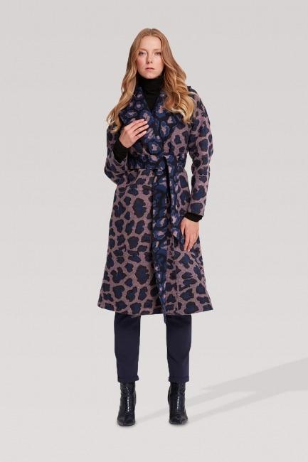 Mizalle - Patterned Coat (Sax Blue)