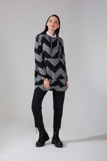 Mizalle - Patterned Knitted Sweatshirt (Black/Grey)