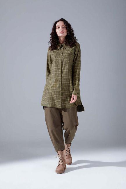 Mizalle - Patterned Shirt Tunic (Khaki)