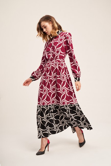 Mizalle - Patterned Skirt Long Dress (Black/Fushia)