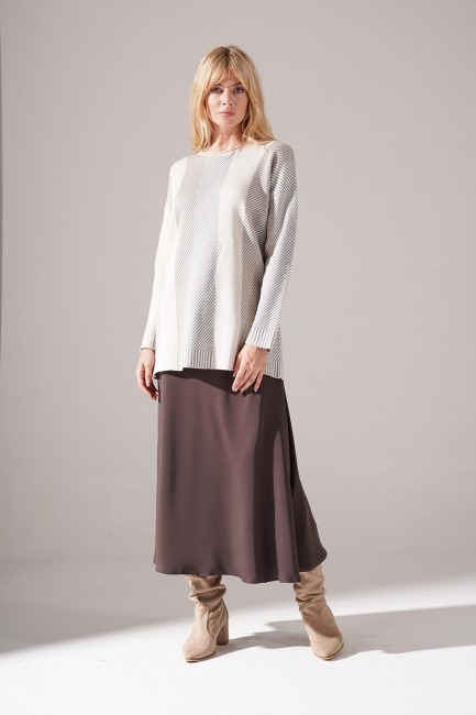Mizalle - Patterned Striped Knitwear Tunic (Beige)