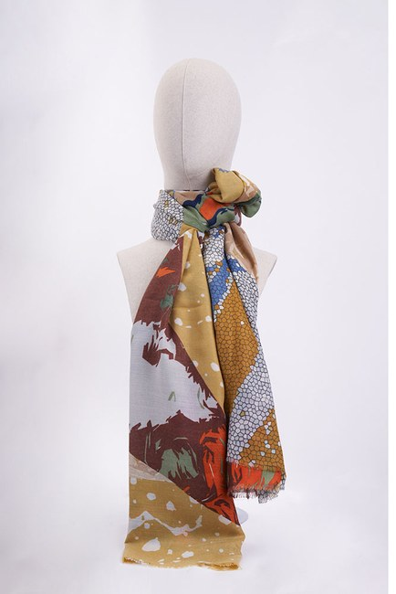 Mizalle - Patterned Tassel Shawl (Yellow)