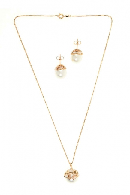 Mizalle - Pearl Detailed Necklace And Earring Set (St)