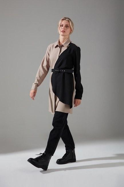 Mizalle - Piece Detailed Crepe Tunic Shirt (Beige)