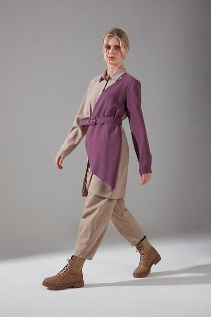 Mizalle - Piece Detailed Crepe Tunic Shirt (Purple)
