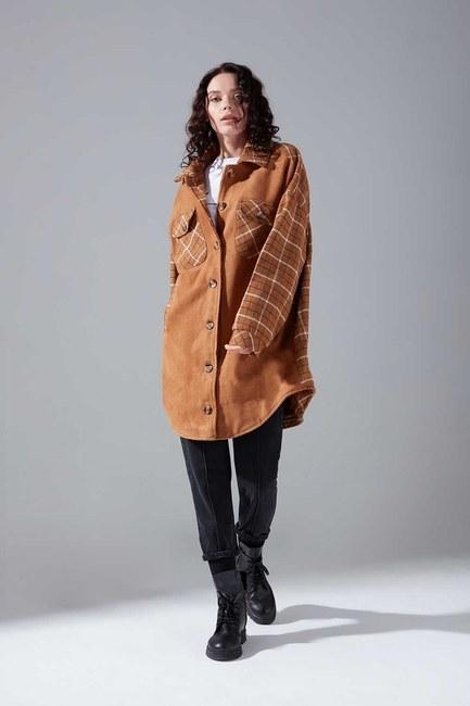 Mizalle - Plaid Garnish Shirt Coat (Camel)