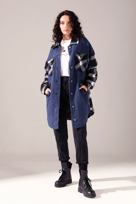 Mizalle - Plaid Garnish Shirt Coat (Indigo)