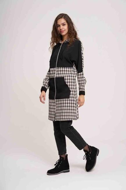 Mizalle - Plaid Garnished Zippered Sweatshirt (Black)