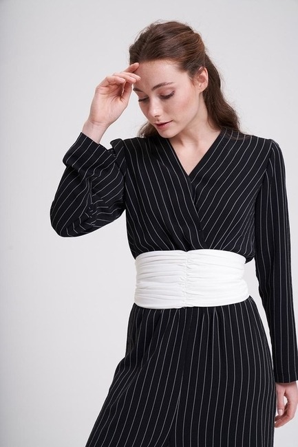 Mizalle - Pleated Belt (Ecru)