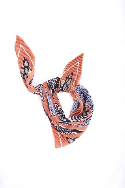 Mizalle - Pleated Patterned Scarf (Orange)