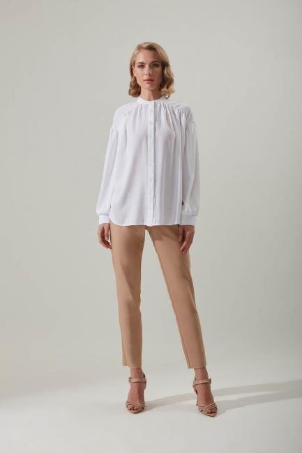 Mizalle - Pleated Sleeve Shirt (Ecru)