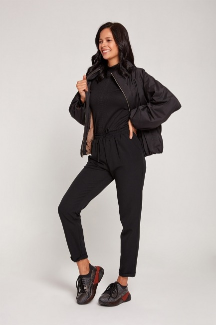 Mizalle - Plush-Lined Short Jacket (Black)