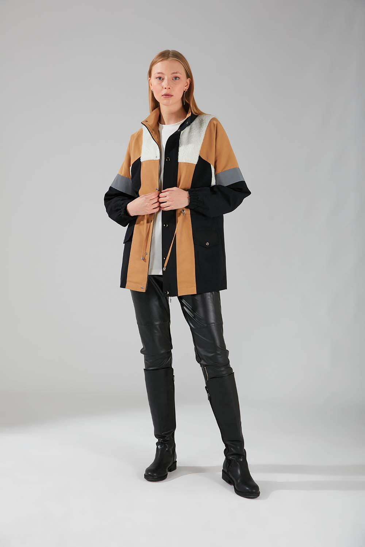 Mizalle - Plush Pieced Coat (Black)