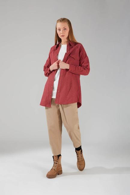 Mizalle - Pocket Detail Tunic Shirt (Claret Red)
