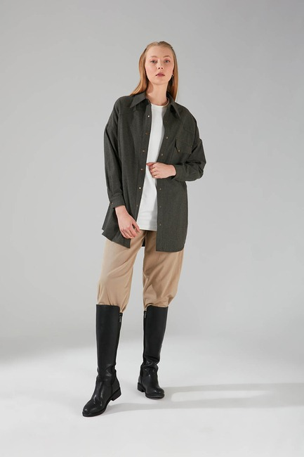 Mizalle - Pocket Detail Tunic Shirt (Khaki)
