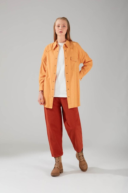 Mizalle - Pocket Detail Tunic Shirt (Saffron)