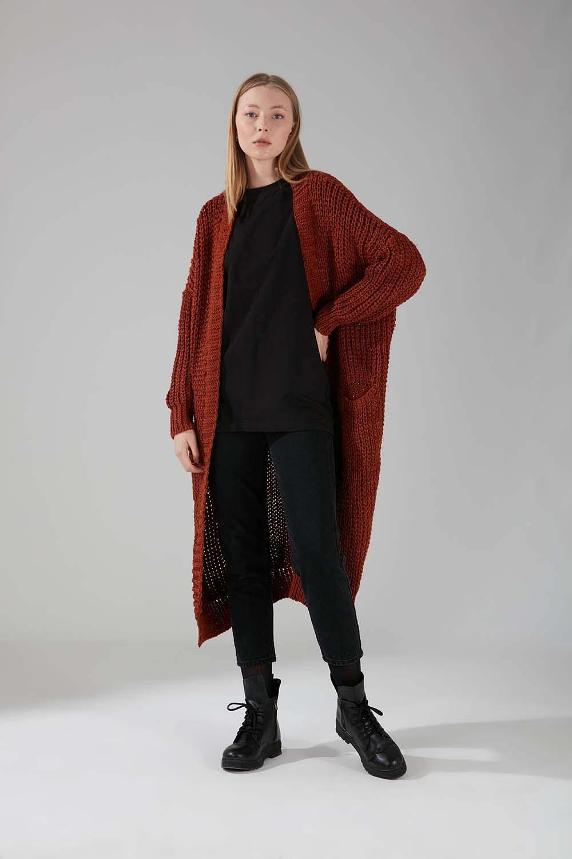 Mizalle - Pocket Knit Cardigan (Brick Red)