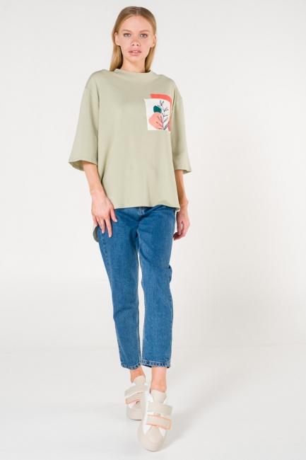 Mizalle - Pocket Printed Green T-Shirt