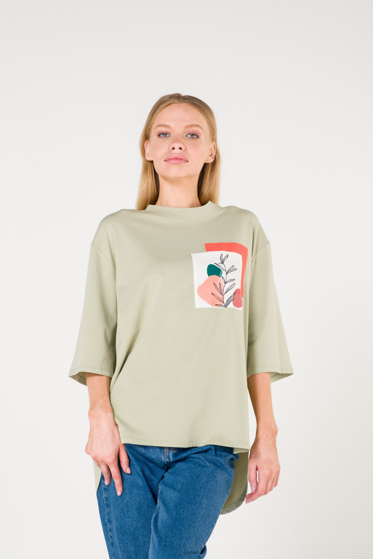 Pocket Printed Green T-Shirt