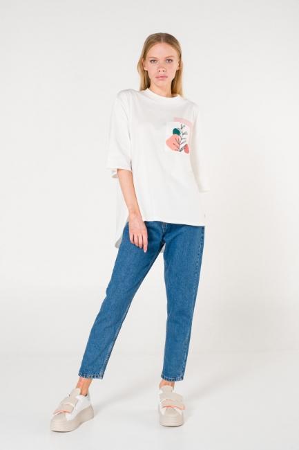Mizalle - Pocket Printed White T-Shirt