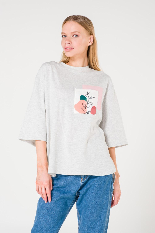 Pocket Printed Grey T-shirt