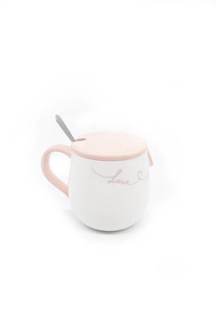 Mizalle Home - Porcelain Mug with Spoon (Pink)
