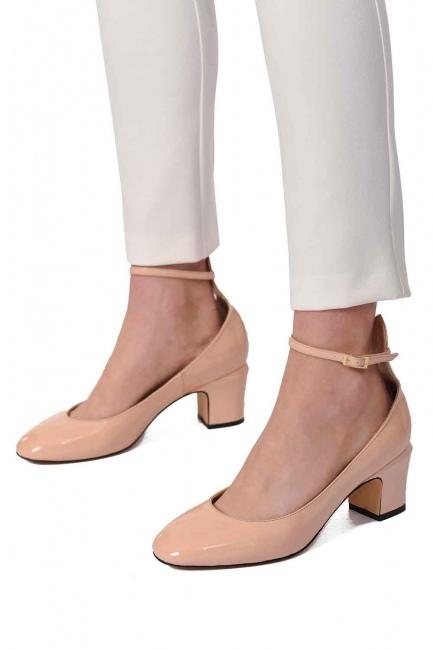 Mizalle - Premium Buckle Leather Shoes (Beige)